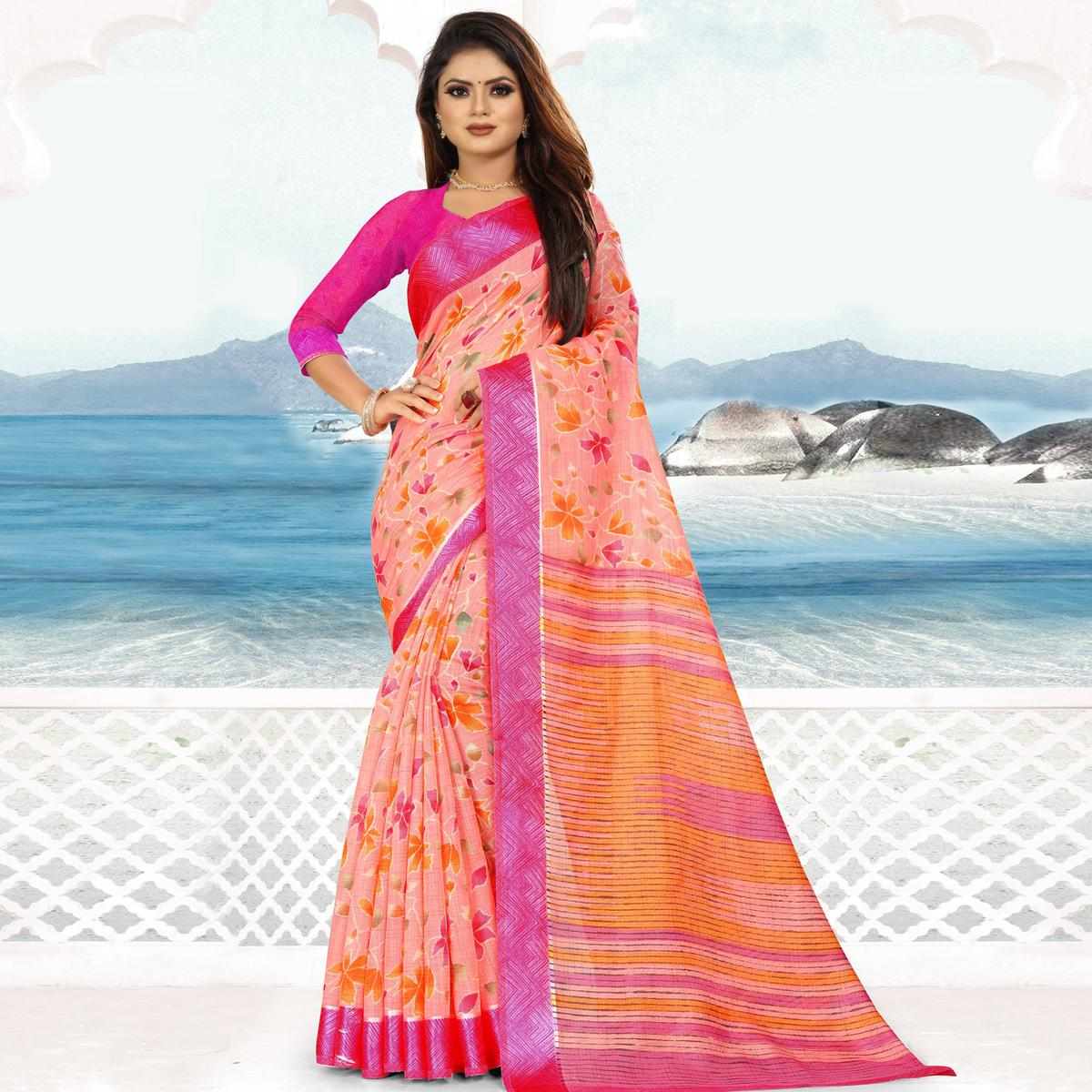 Alluring Pink Colored Casual Wear Floral Printed Linen Saree With Satin Patta Border