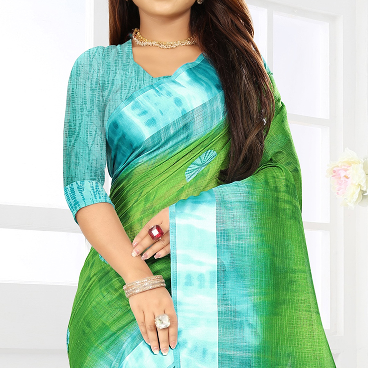 Sensational Green Colored Casual Wear Floral Printed Linen Saree With Satin Patta Border
