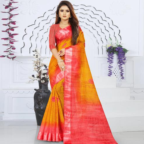 Flaunt Yellow Colored Casual Wear Floral Printed Linen Saree With Satin Patta Border