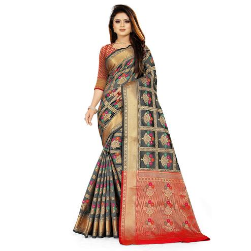 Pleasant Black Colored Festive Wear Woven Silk Saree