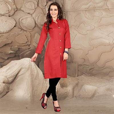 Red High Neck Casual Kurti