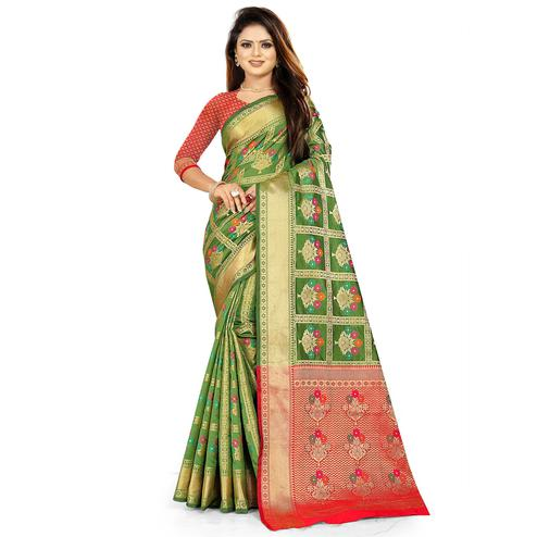 Intricate Green Colored Festive Wear Woven Silk Saree