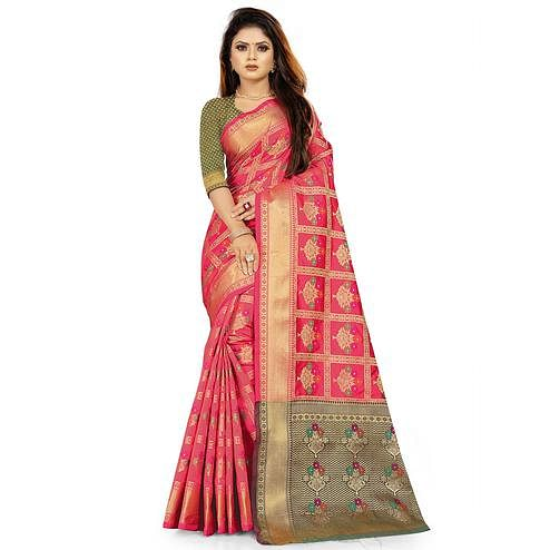 Opulent Pink Colored Festive Wear Woven Silk Saree