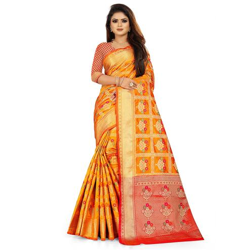 Glowing Mustard Yellow Colored Festive Wear Woven Silk Saree