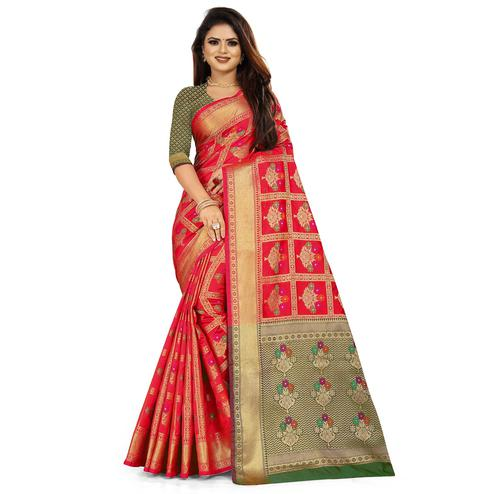 Gleaming Red Colored Festive Wear Woven Silk Saree