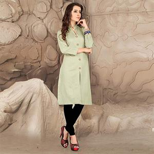 Pista Green Plain Casual Kurti