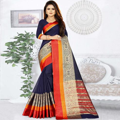 Groovy Navy Blue Colored Festive Wear Woven Silk Saree