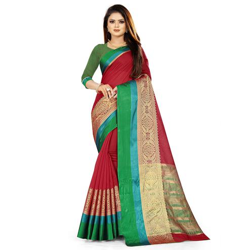 Adorning Red Colored Festive Wear Woven Silk Saree