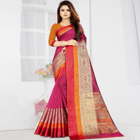 Exclusive Magenta Pink Colored Festive Wear Woven Silk Saree