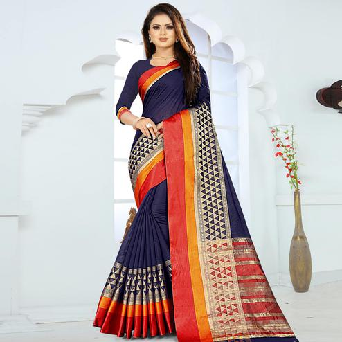 Intricate Navy Blue Colored Festive Wear Woven Silk Saree