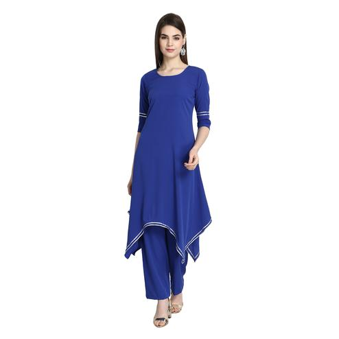 Engrossing Blue Colored Casual Wear A-Line Crepe Kurti-Palazzo Set