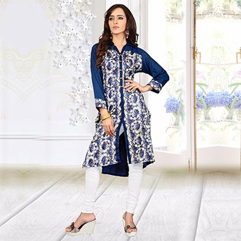 Blue - White Digital Printed Slit Cut Kurti