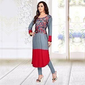 Grey - Red Digital Printed Kurti