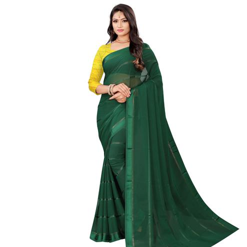 Exceptional Green Colored Casual Wear Georgette Saree