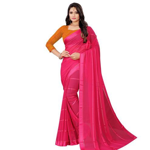 Gleaming Pink Colored Casual Wear Georgette Saree