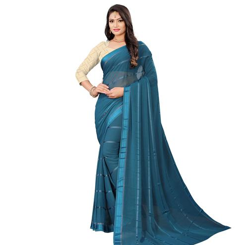 Mesmeric Rama Blue Colored Casual Wear Georgette Saree