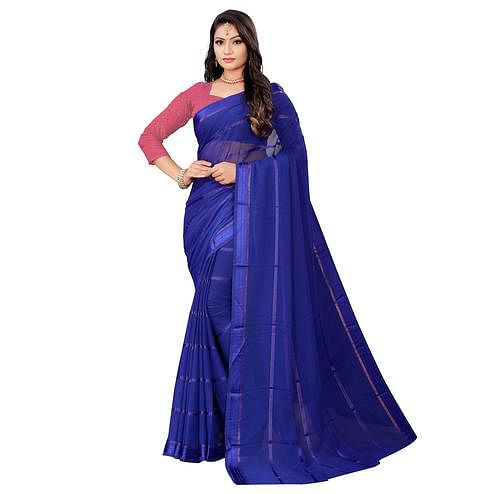 Unique Royal Blue Colored Casual Wear Georgette Saree