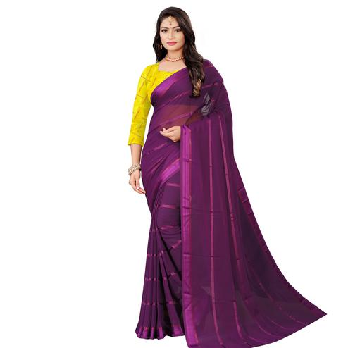 Demanding Wine Colored Casual Wear Georgette Saree