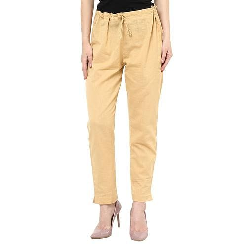 Magnetic Beige Colored Casual Wear Cotton Trouser