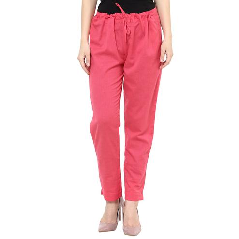 Excellent Pink Colored Casual Wear Cotton Trouser