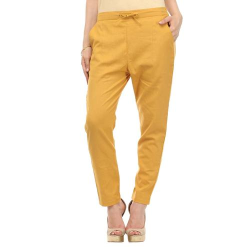 Refreshing Mustard Yellow Colored Casual Wear Cotton Trouser