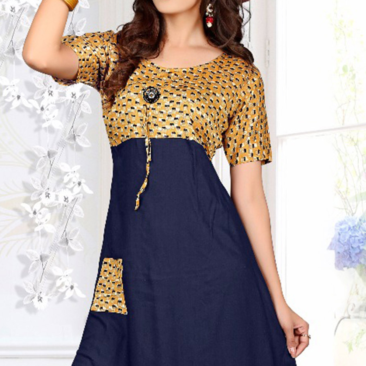 Golden - Navy Blue Flared Kurti