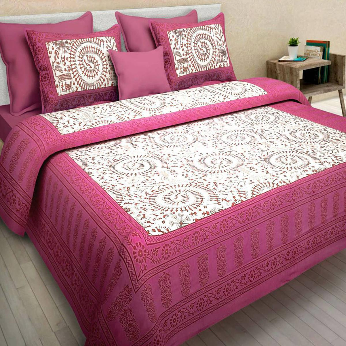 Innovative Pink Colored Printed Cotton Double Bedsheet With 2 Pillow Cover