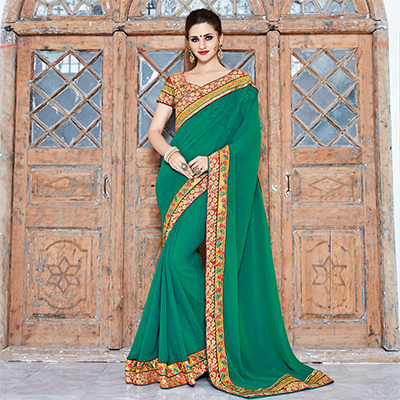 Green Border Work Saree with Embroidered Blouse