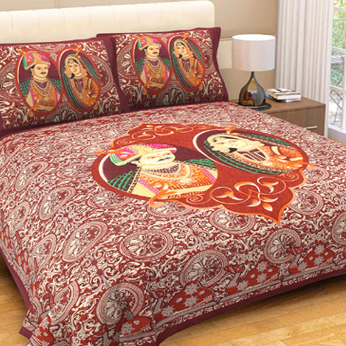 Intricate Multicolour Colored Printed Cotton Double Bedsheet With 2 Pillow Cover
