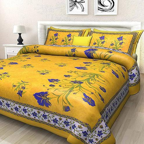 Arresting Yellow Colored Printed Cotton Double Bedsheet With 2 Pillow Cover