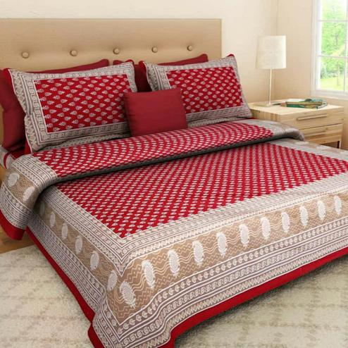 Opulent Red Colored Printed Cotton Double Bedsheet With 2 Pillow Cover