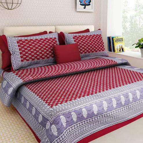 Energetic Multicolour Colored Printed Cotton Double Bedsheet With 2 Pillow Cover