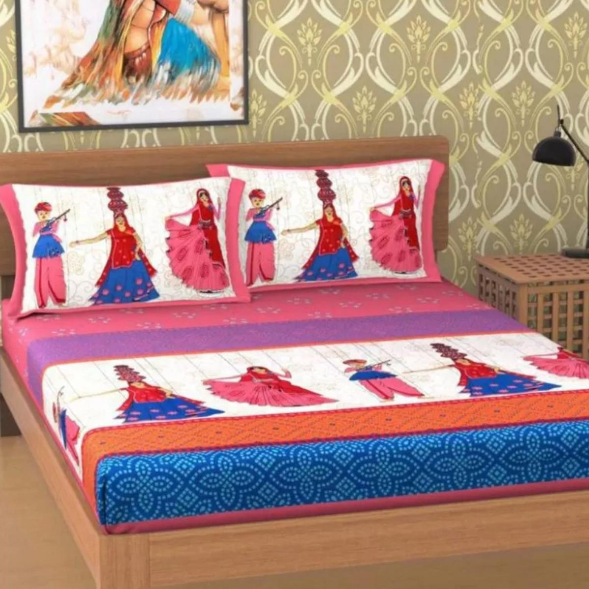 Refreshing Blue Colored Printed Cotton Double Bedsheet With 2 Pillow Cover