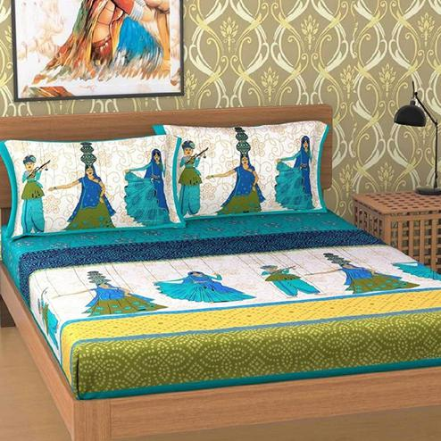 Hypnotic Green Colored Printed Cotton Double Bedsheet With 2 Pillow Cover