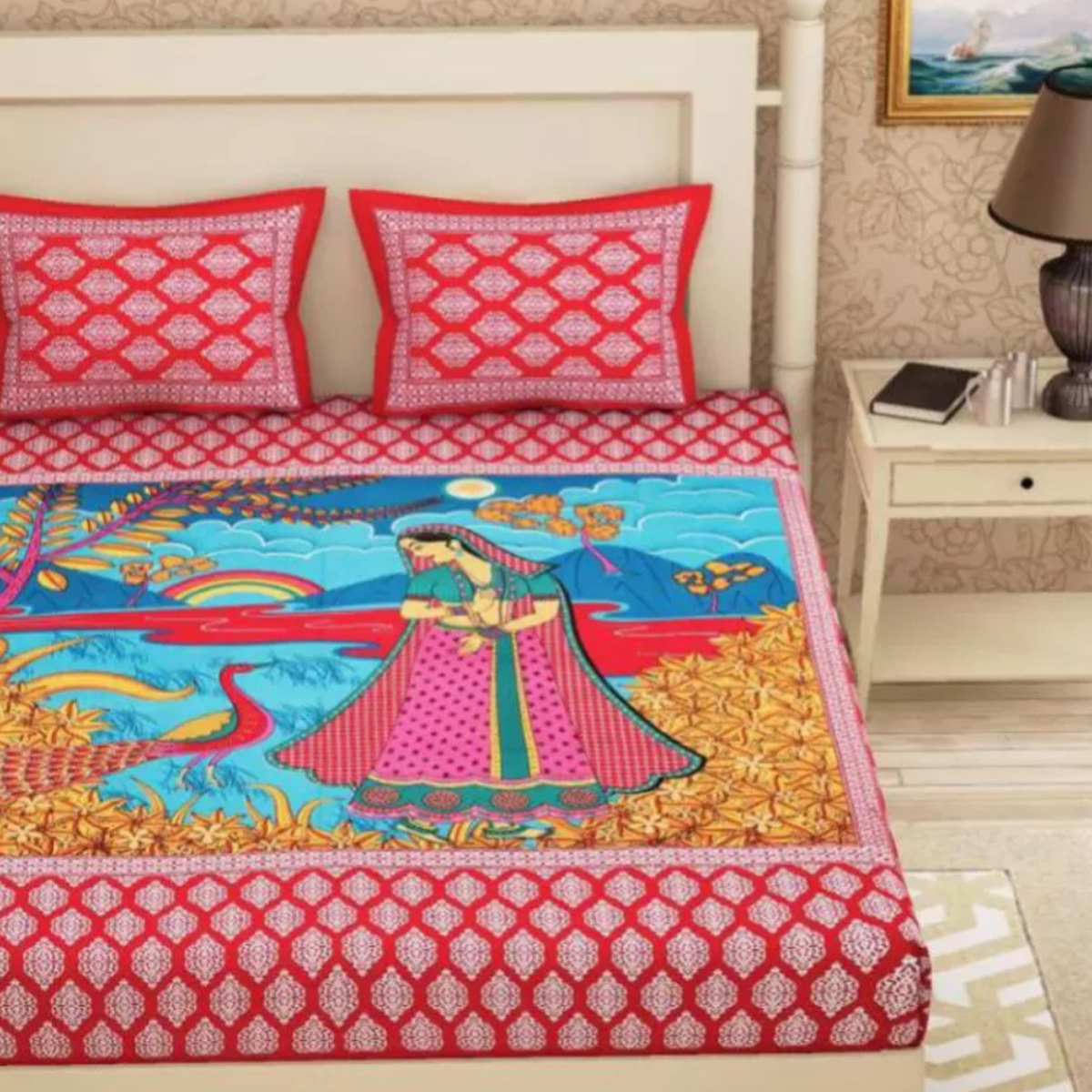 Preferable Red Colored Printed Cotton Double Bedsheet With 2 Pillow Cover