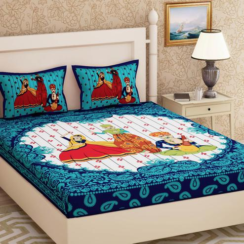 Pretty Blue Colored Printed Cotton Double Bedsheet With 2 Pillow Cover
