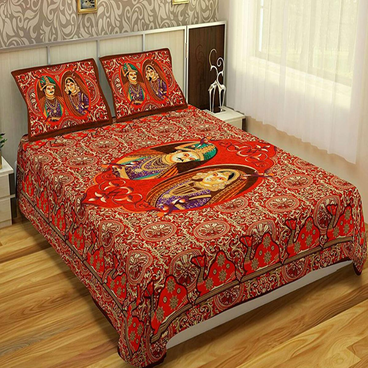 Alluring Red Colored Printed Cotton Double Bedsheet With 2 Pillow Cover