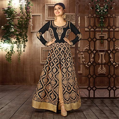 Black Front Slit Embroidered Work Anarkali Suit