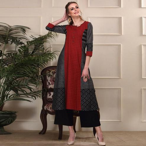 Exotic Red-Black Colored Casual Wear Printed Work Knee Length Handloom Cotton Kurti