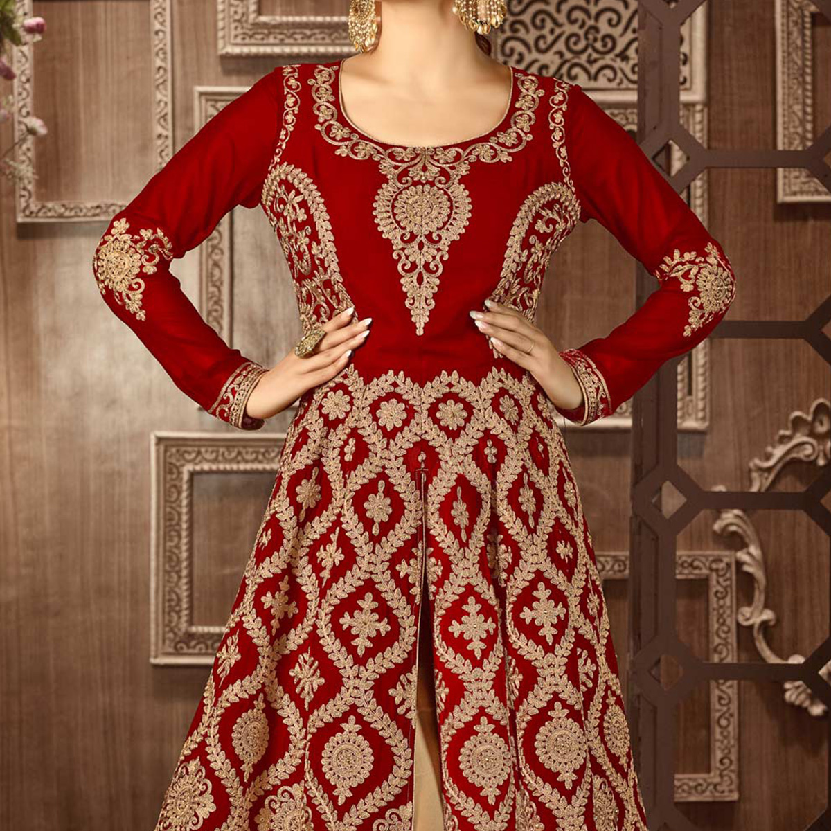 Red Heavy Embroidered Work Anarkali Suit