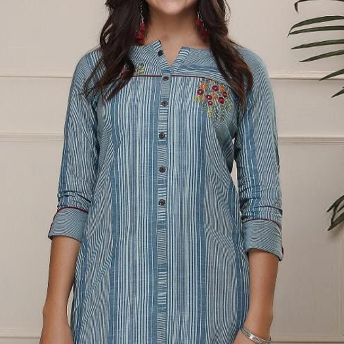 Trendy Blue Colored Casual Wear Embroidered Work Knee Length Handloom Cotton Kurti