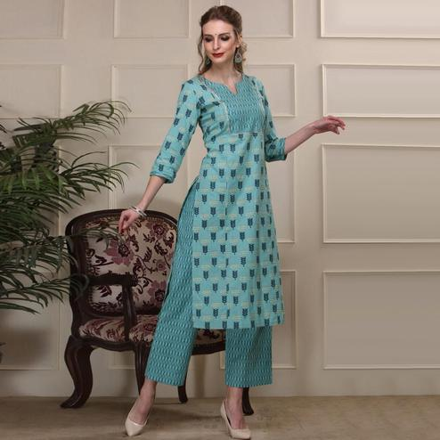Elegant Blue Colored Casual Wear Sequence Work Knee Length Handloom Cotton Kurti-Palazzo Set