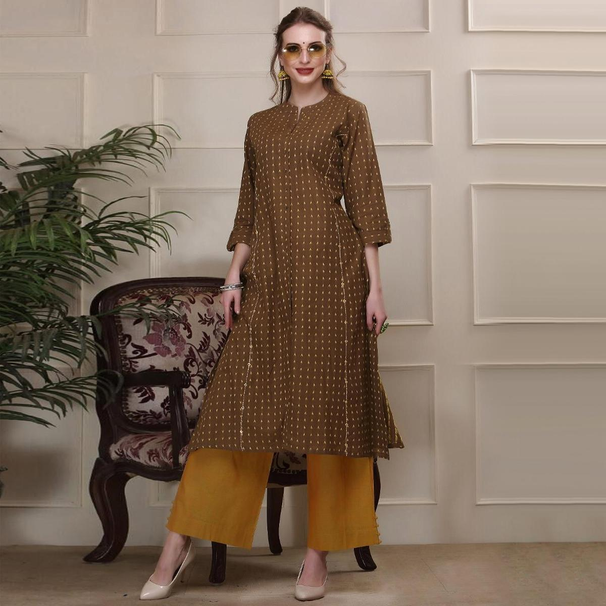 Radiant Brown Colored Casual Wear Printed Work Knee Length Knee Length Handloom Cotton Kurti