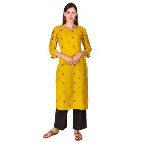 Flaunt Yellow Colored Casual Wear Hand Embroidered Work Knee Length Handloom Cotton Kurti-Palazzo Set