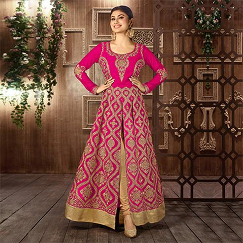 Pink Embroidered Work Anarkali with Front Slit