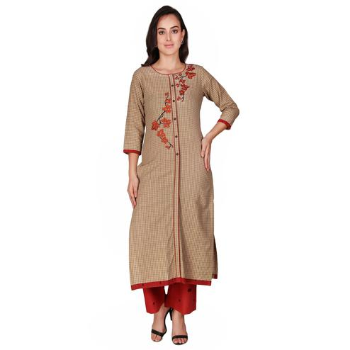 Ideal Beige Colored Casual Wear Hand Embroidered Work Knee Length Handloom Cotton Kurti-Palazzo Set