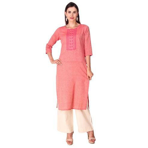 Pretty Peach Color Casual Wear Hand Embroidered Work Knee Length Handloom Cotton Kurti