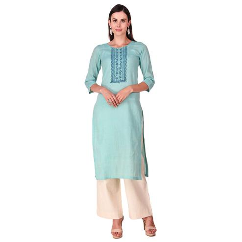 Alluring Mint Green Color Casual Wear Hand Embroidered Work Knee Length Handloom Cotton Kurti