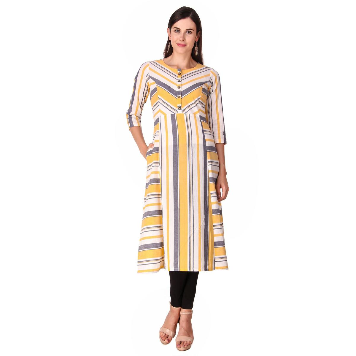 Flirty Multicolor Color Casual Wear Printed Work Knee Length Handloom Cotton Kurti