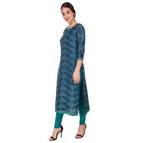 Blissful Blue Color Casual Wear Printed Work Knee Length Handloom Cotton Kurti